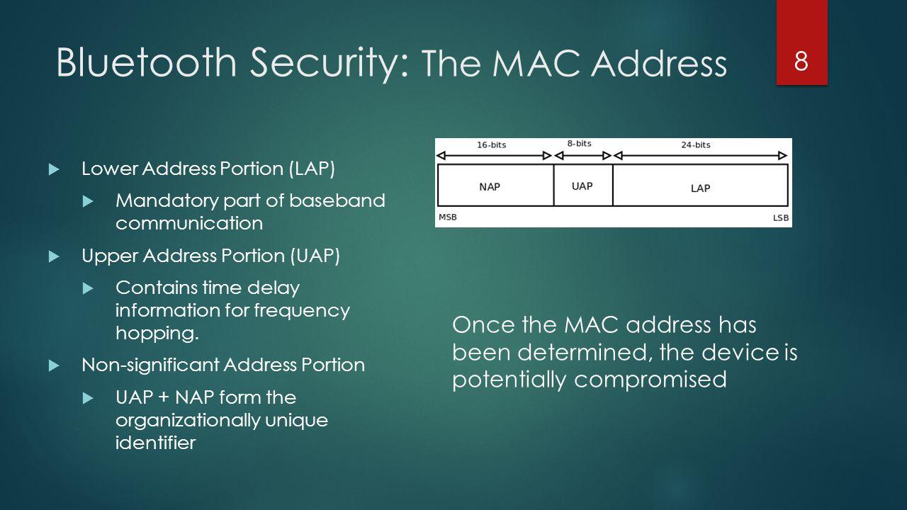 Bluetooth Security: The MAC Address  Lower Address Portion (LAP)  Mandatory part of baseband communication  Upper Address Portion (UAP)  Contains
