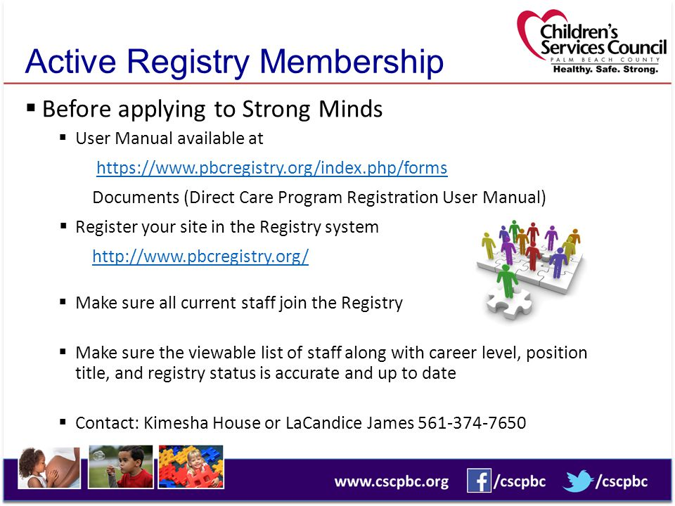 Active Registry Membership  Before applying to Strong Minds  User Manual available at https://www.pbcregistry.org/index.php/forms Documents (Direct