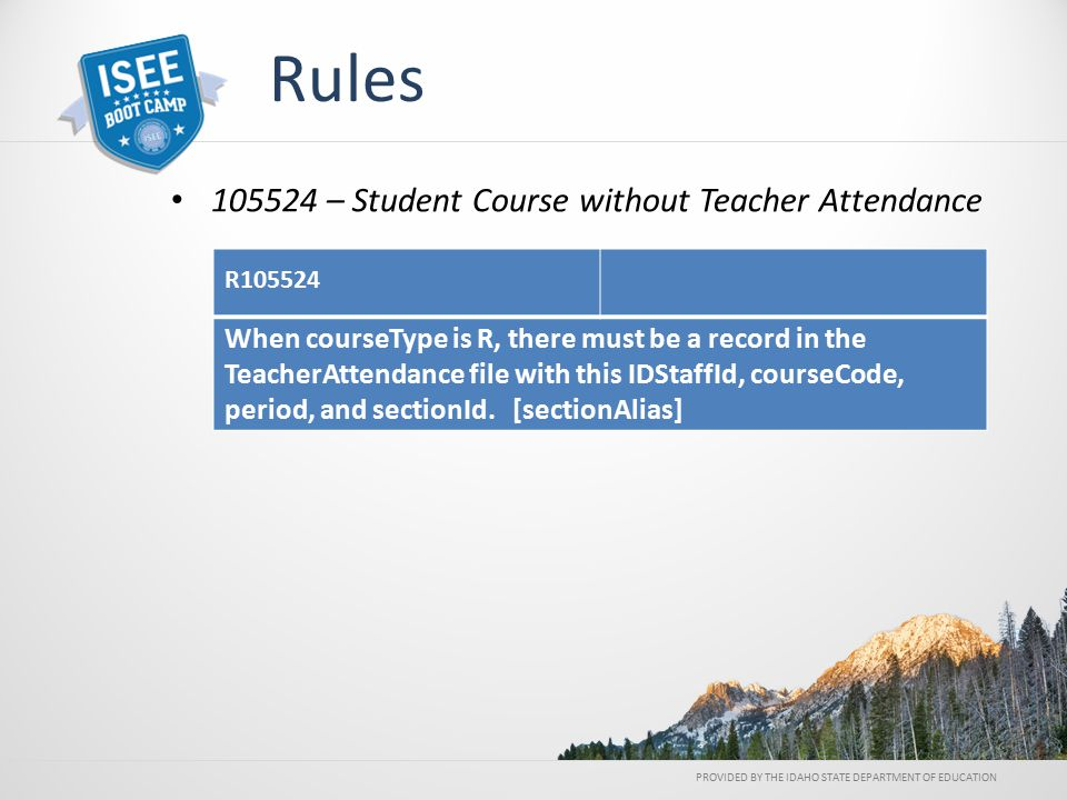 PROVIDED BY THE IDAHO STATE DEPARTMENT OF EDUCATION Rules 105524 – Student Course without Teacher Attendance R105524 When courseType is R, there must be a record in the TeacherAttendance file with this IDStaffId, courseCode, period, and sectionId.