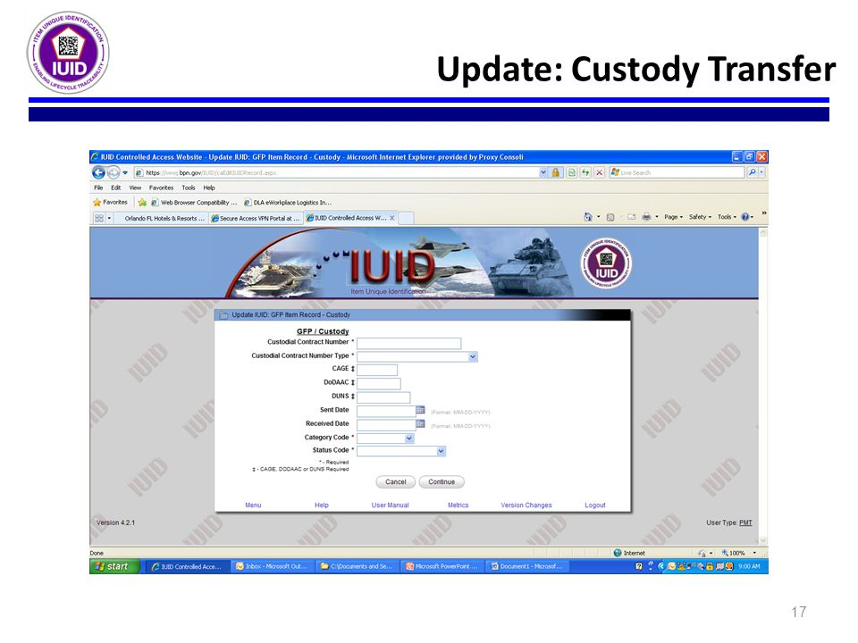 17 Update: Custody Transfer