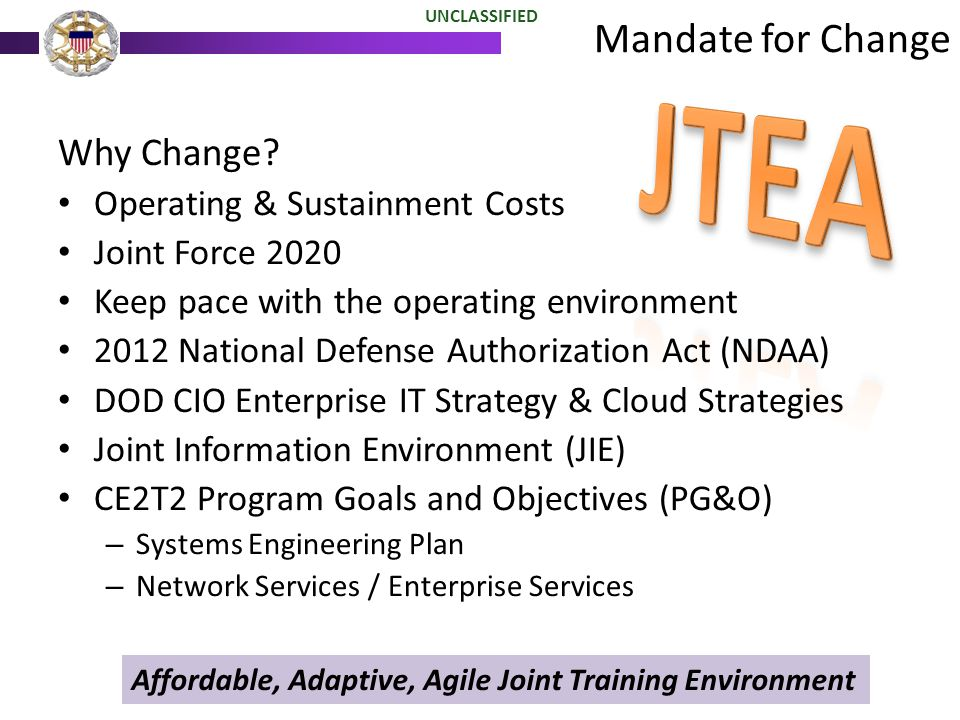 Mandate for Change UNCLASSIFIED Why Change? Operating & Sustainment Costs Joint Force 2020 Keep pace with the operating environment 2012 National Defe
