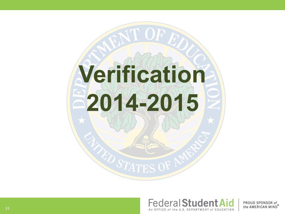 31 Verification 2014-2015