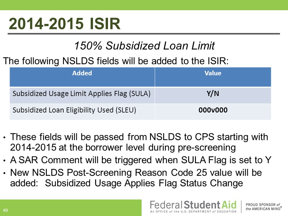 150% Subsidized Loan Limit The following NSLDS fields will be added to the ISIR: These fields will be passed from NSLDS to CPS starting with 2014-2015 at the borrower level during pre-screening A SAR Comment will be triggered when SULA Flag is set to Y New NSLDS Post-Screening Reason Code 25 value will be added: Subsidized Usage Applies Flag Status Change 49 AddedValue Subsidized Usage Limit Applies Flag (SULA)Y/N Subsidized Loan Eligibility Used (SLEU)000v000 2014-2015 ISIR