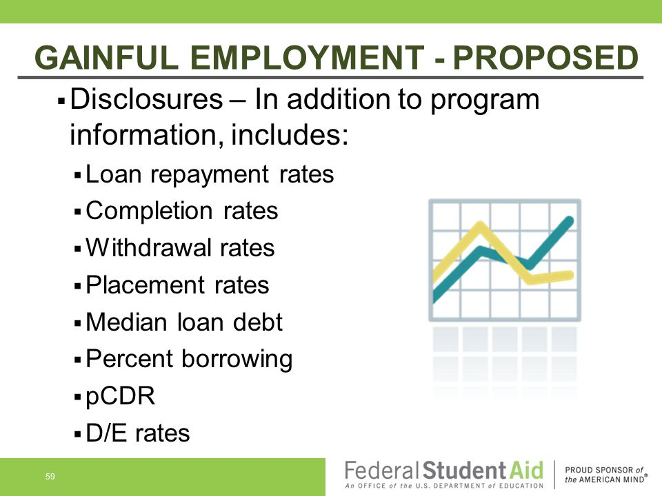 GAINFUL EMPLOYMENT - PROPOSED  Disclosures – In addition to program information, includes:  Loan repayment rates  Completion rates  Withdrawal rates  Placement rates  Median loan debt  Percent borrowing  pCDR  D/E rates 59