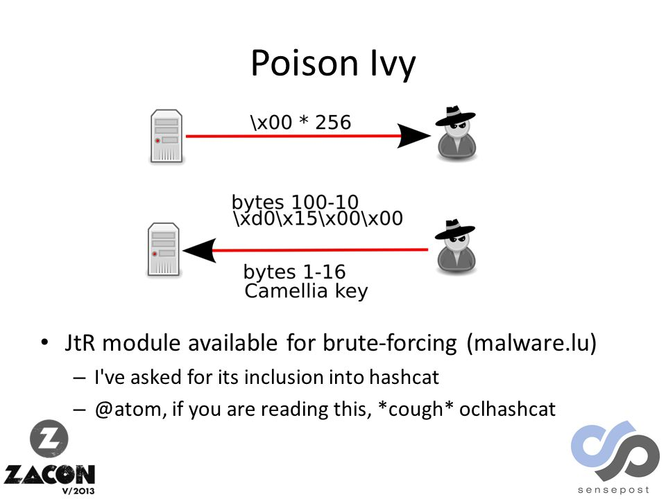 Poison Ivy JtR module available for brute-forcing (malware.lu) – I ve asked for its inclusion into hashcat – @atom, if you are reading this, *cough* oclhashcat