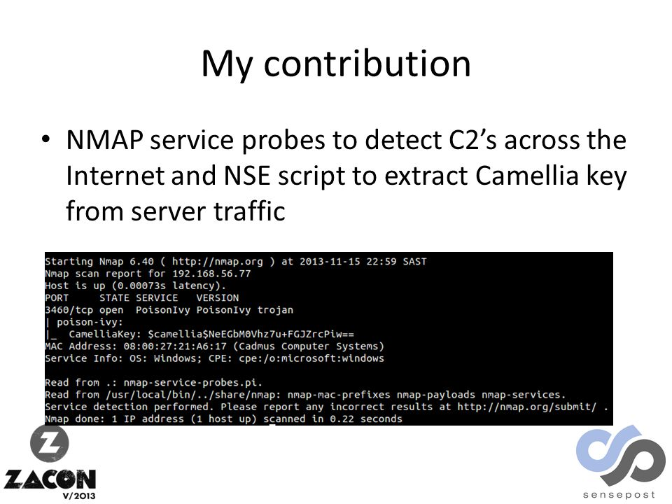 My contribution NMAP service probes to detect C2's across the Internet and NSE script to extract Camellia key from server traffic