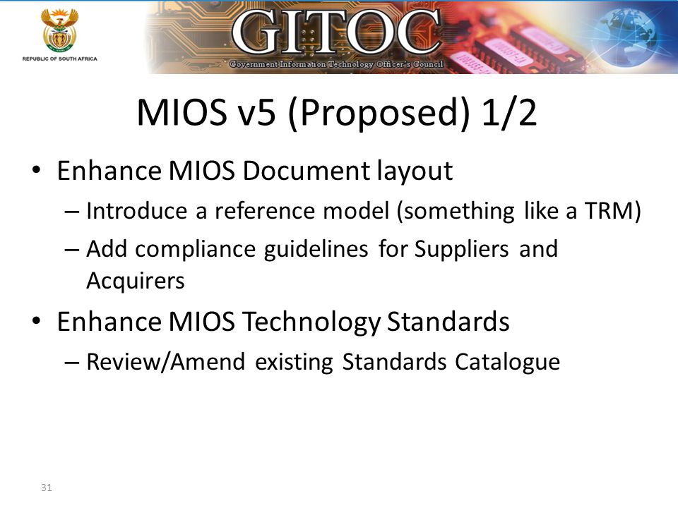MIOS v5 (Proposed) 1/2 Enhance MIOS Document layout – Introduce a reference model (something like a TRM) – Add compliance guidelines for Suppliers and