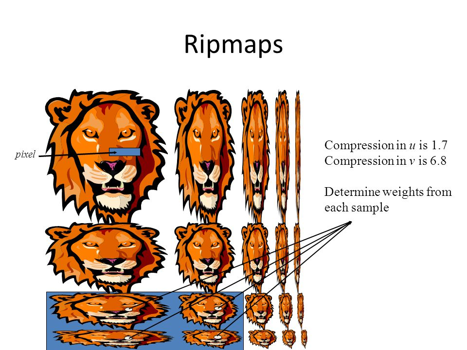 Ripmaps Compression in u is 1.7 Compression in v is 6.8 Determine weights from each sample pixel