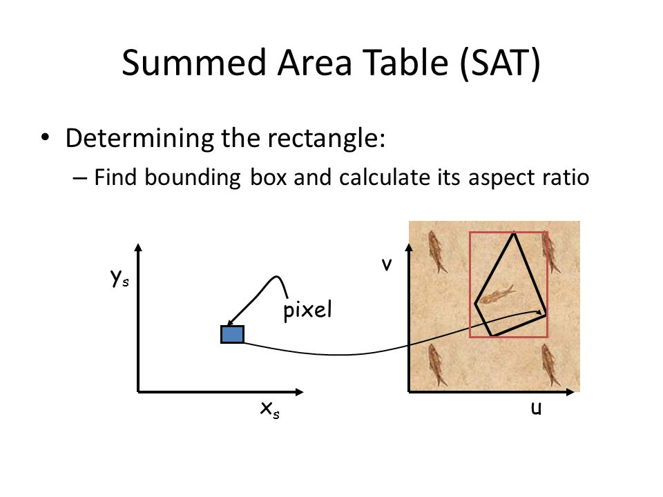 Summed Area Table (SAT) Determining the rectangle: – Find bounding box and calculate its aspect ratio pixel u v xsxs ysys