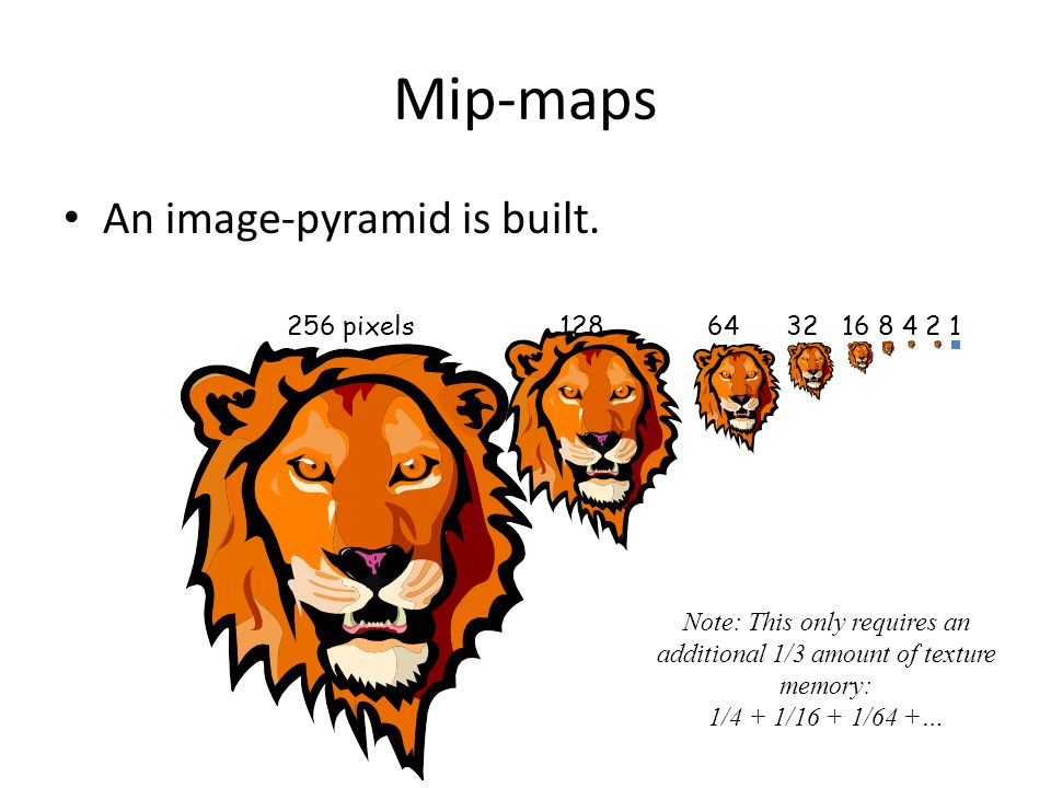 Anisotropic Filtering Multiple mip-maps or Ripmaps Summed Area Tables (SAT) Multi-sampling for anisotropic texture filtering.