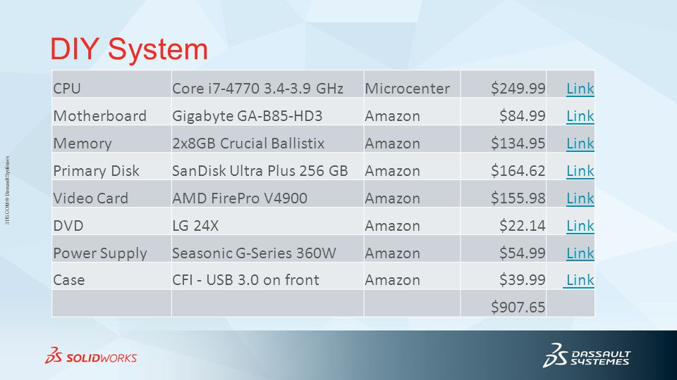 3DS.COM © Dassault Systèmes DIY System CPUCore i7-4770 3.4-3.9 GHzMicrocenter$249.99Link MotherboardGigabyte GA-B85-HD3Amazon$84.99Link Memory2x8GB Crucial BallistixAmazon$134.95Link Primary DiskSanDisk Ultra Plus 256 GBAmazon$164.62Link Video CardAMD FirePro V4900Amazon$155.98Link DVDLG 24XAmazon$22.14Link Power SupplySeasonic G-Series 360WAmazon$54.99Link CaseCFI - USB 3.0 on frontAmazon$39.99 Link $907.65