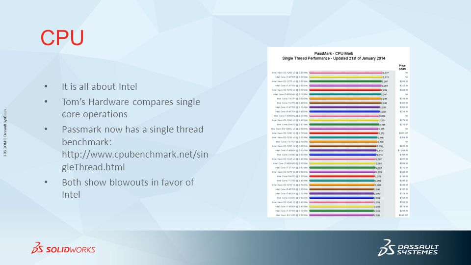 3DS.COM © Dassault Systèmes CPU It is all about Intel Tom's Hardware compares single core operations Passmark now has a single thread benchmark: http://www.cpubenchmark.net/sin gleThread.html Both show blowouts in favor of Intel