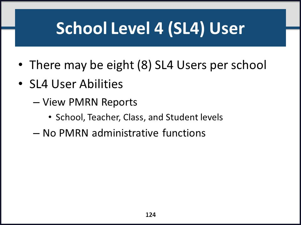 School Level 4 (SL4) User There may be eight (8) SL4 Users per school SL4 User Abilities – View PMRN Reports School, Teacher, Class, and Student level