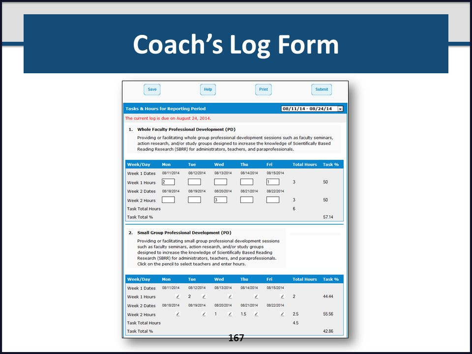 Coach's Log Form 167