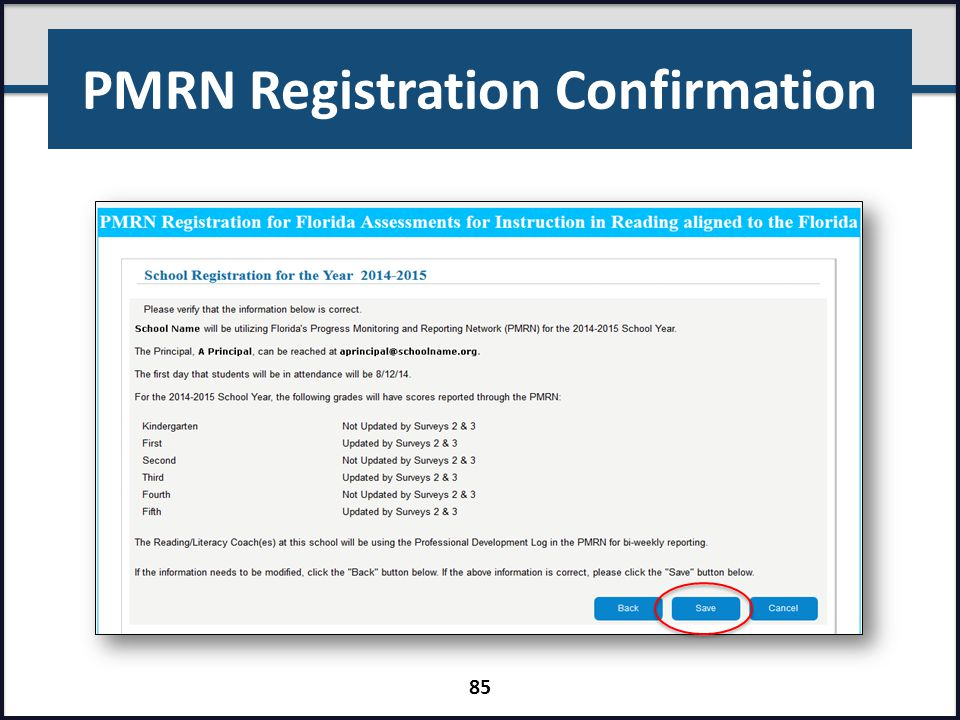 PMRN Registration Confirmation 85
