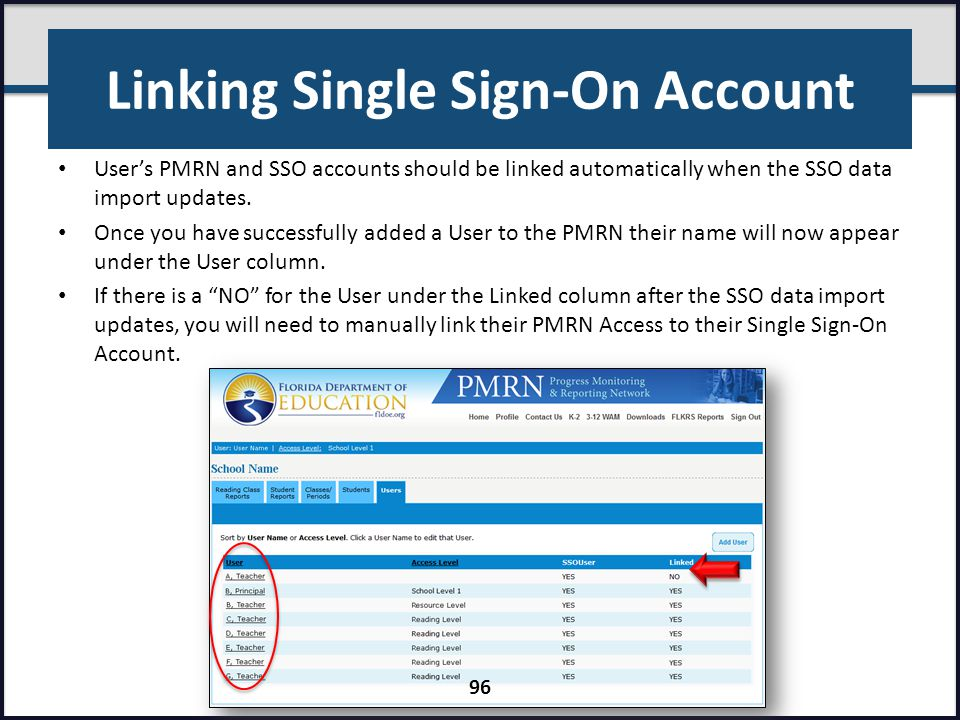 Linking Single Sign-On Account User's PMRN and SSO accounts should be linked automatically when the SSO data import updates. Once you have successfull