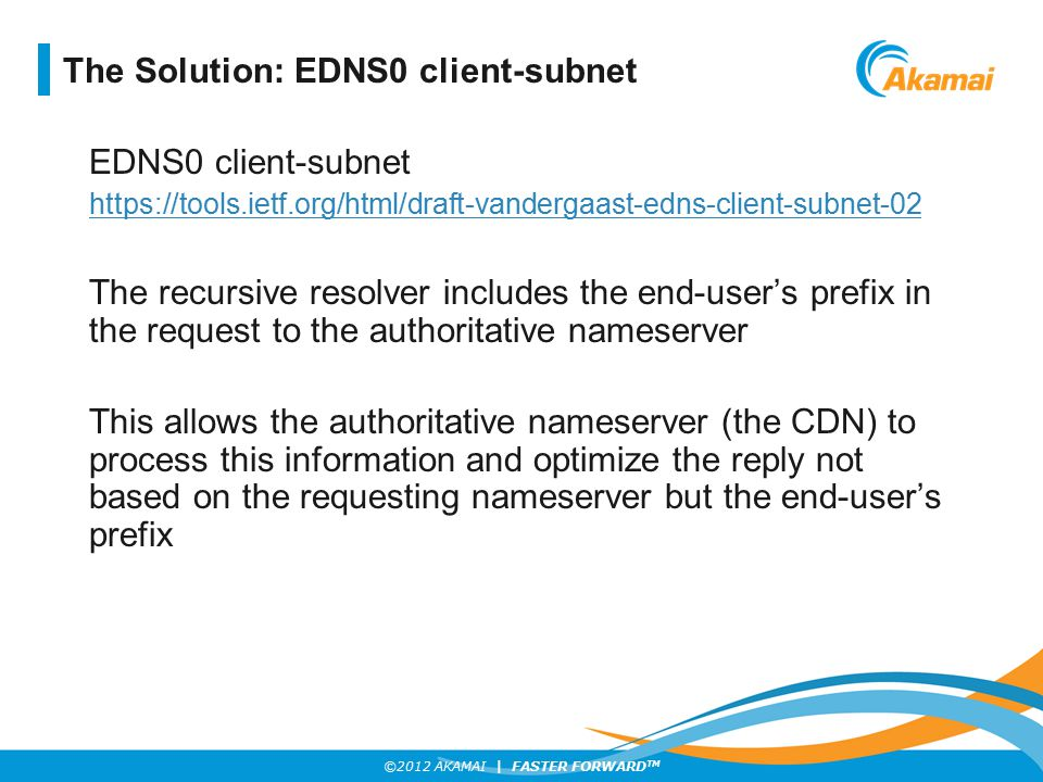 ©2012 AKAMAI | FASTER FORWARD TM EDNS0 client-subnet https://tools.ietf.org/html/draft-vandergaast-edns-client-subnet-02 The recursive resolver includ