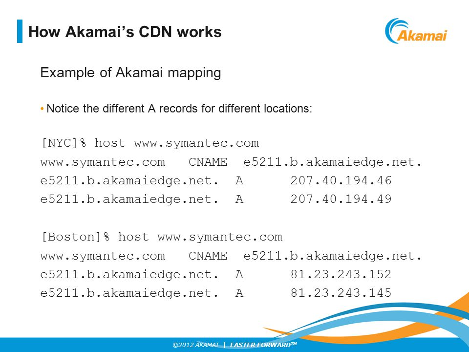 ©2012 AKAMAI | FASTER FORWARD TM Akamai uses multiple criteria to choose the optimal server These include standard network metrics: Latency Throughput Packet loss as well as internal ones such as: CPU load on the server HD space network utilization How Akamai's CDN works