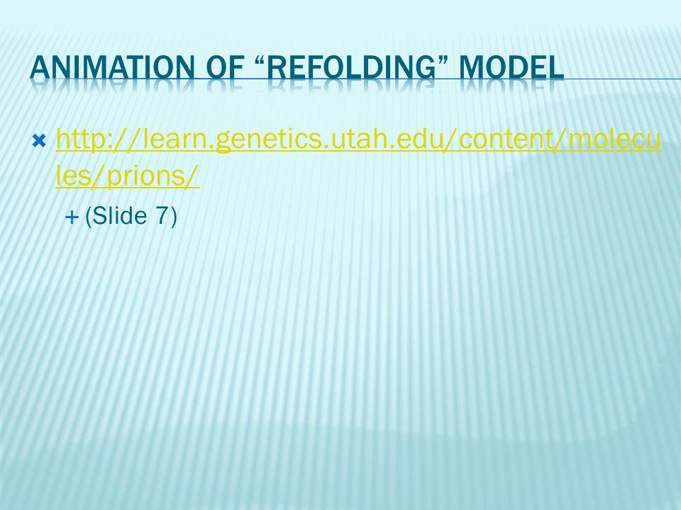  http://learn.genetics.utah.edu/content/molecu les/prions/ http://learn.genetics.utah.edu/content/molecu les/prions/  (Slide 7)
