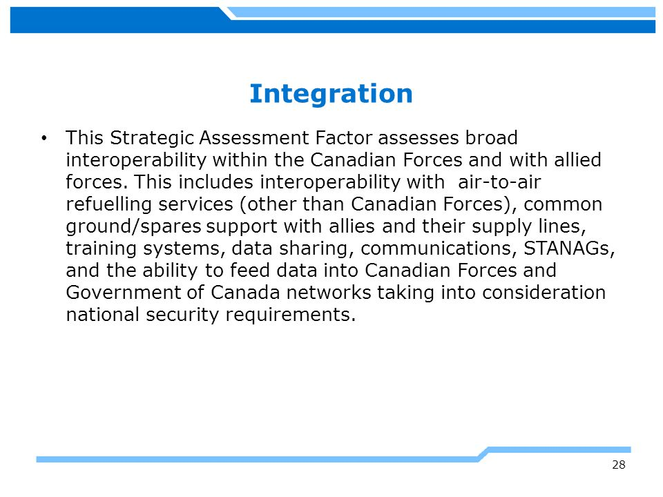 Growth Potential This Strategic Assessment Factor assesses the growth potential and technological flexibility to respond to unforeseen future advances in threat capabilities, to implement required enhancements to fighter technology, and to evolve as needed to meet the Canadian Forces' needs.