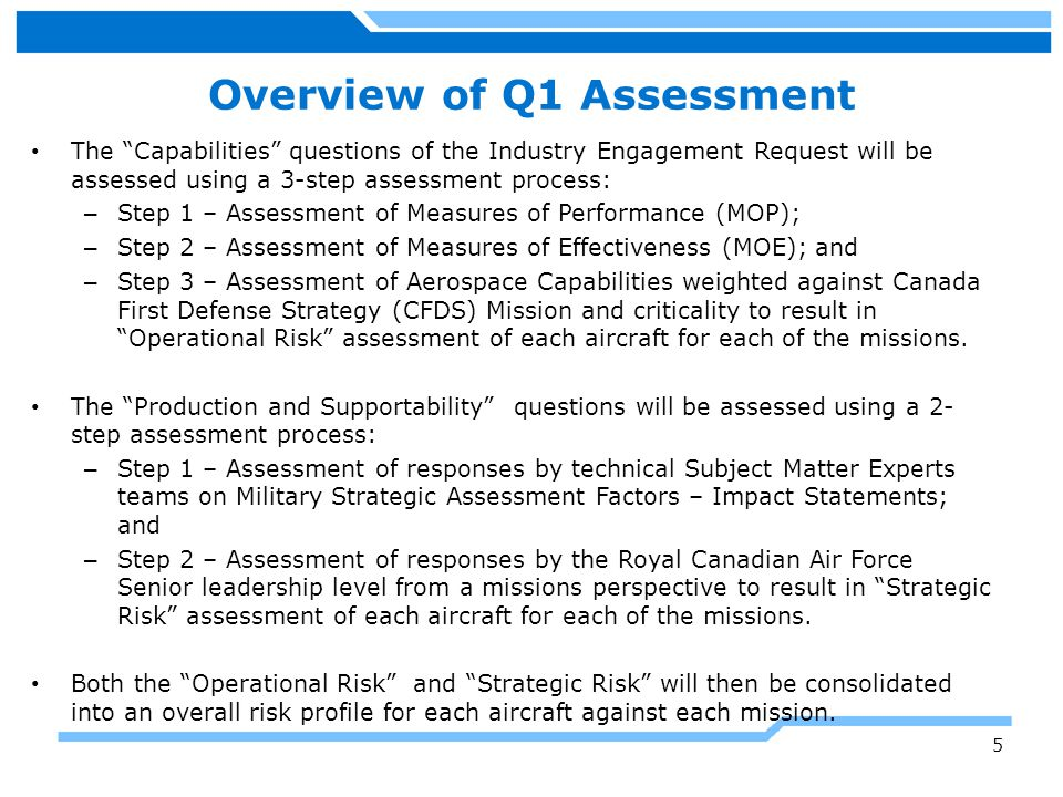 Step 1 of Capabilities Assessment Assessments being performed using responses to the 17 areas of « Capabilities » contained in the Industry Engagement Request.