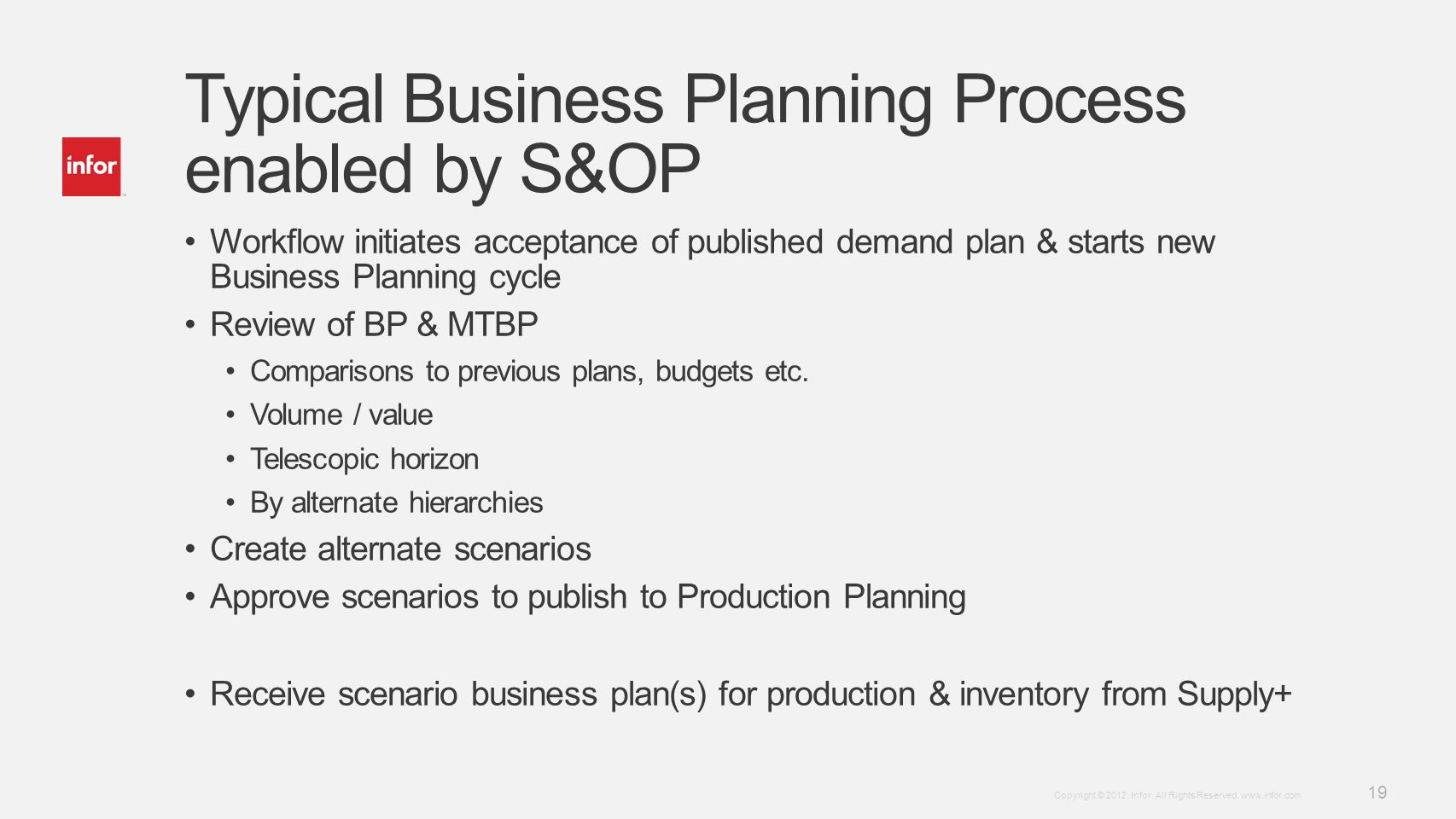 Template v4 September 27, 2012 19 Copyright © 2012. Infor. All Rights Reserved. www.infor.com Typical Business Planning Process enabled by S&OP Workfl