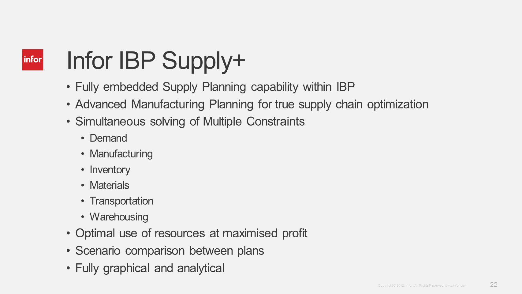 Template v4 September 27, 2012 22 Copyright © 2012. Infor. All Rights Reserved. www.infor.com Infor IBP Supply+ Fully embedded Supply Planning capabil