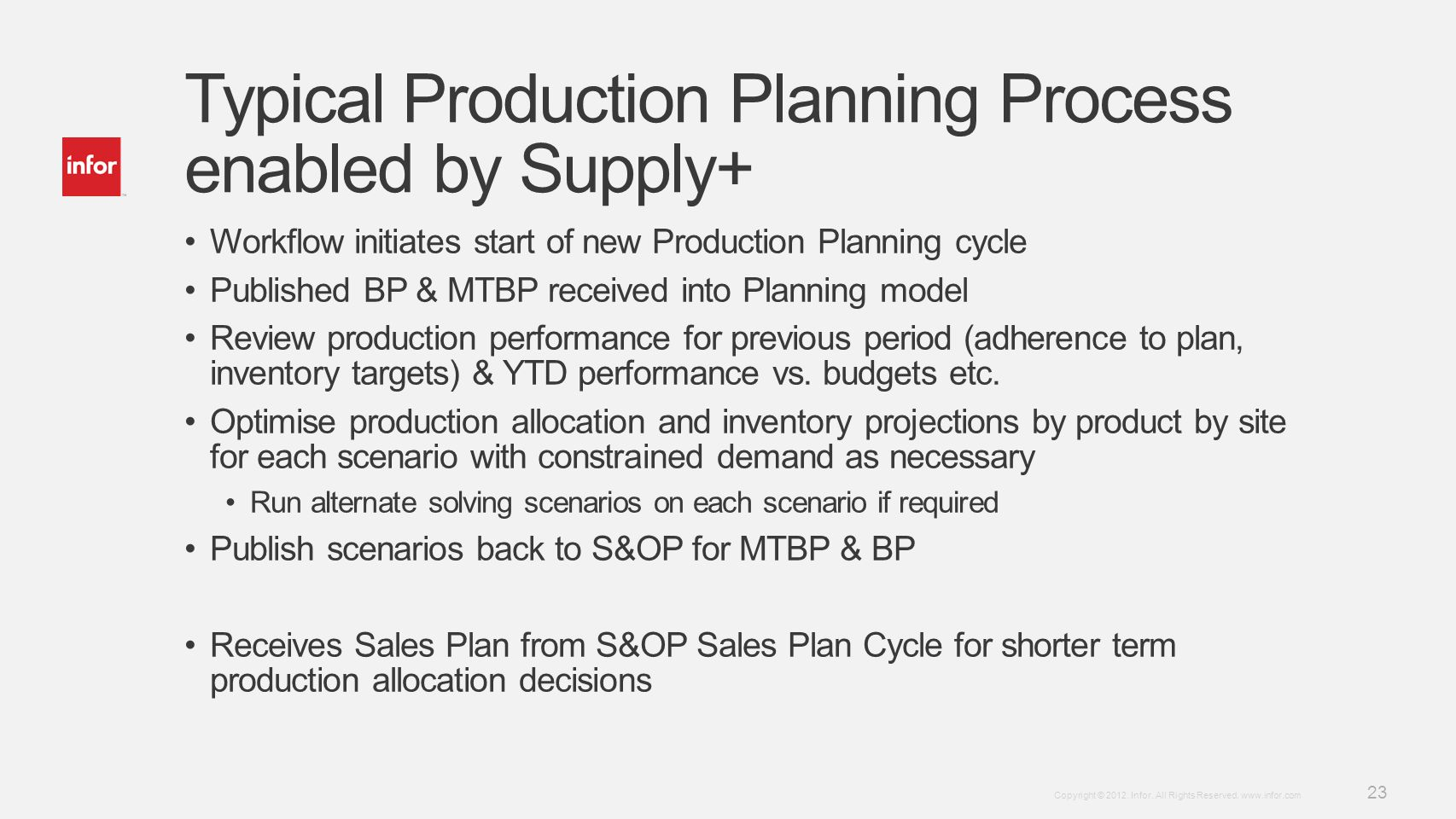 Template v4 September 27, 2012 23 Copyright © 2012. Infor. All Rights Reserved. www.infor.com Typical Production Planning Process enabled by Supply+ W