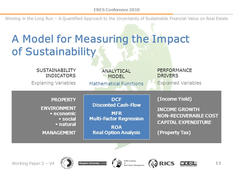 Working Paper 2 – V4 13 ERES Conference 2010 Winning in the Long Run – A Quantified Approach to the Uncertainty of Sustainable Financial Value on Real
