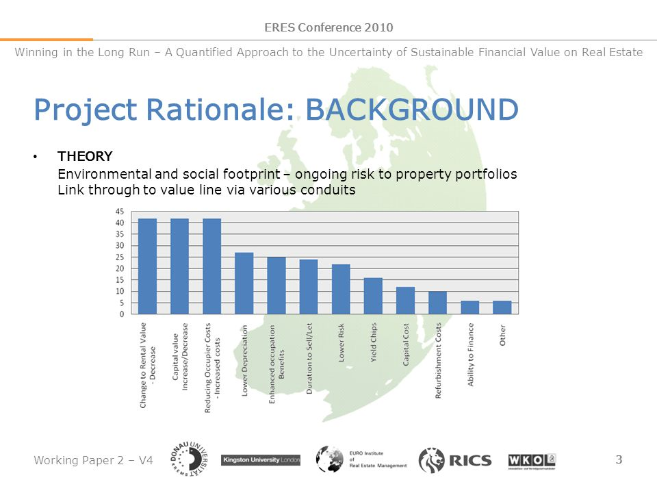Working Paper 2 – V4 4 ERES Conference 2010 Winning in the Long Run – A Quantified Approach to the Uncertainty of Sustainable Financial Value on Real Estate Project Rationale: BACKGROUND REALITY Paucity of evidence to support value differential (Sayce et al, 2010) Limited evidence emerging in US – CERTIFICATION LEVEL No such evidence for European markets and portfolios KEY QUESTIONS What sustainability factors impact on property returns.