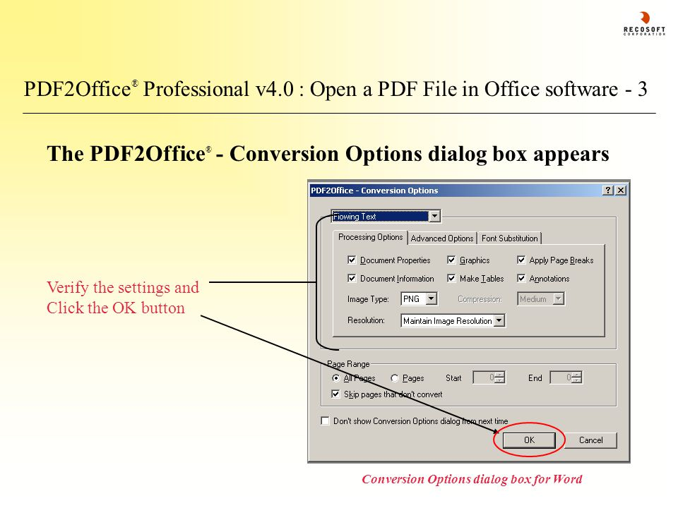 PDF2Office ® Professional v4.0 : Open a PDF File in Office software - 3 The PDF2Office ® - Conversion Options dialog box appears Conversion Options di