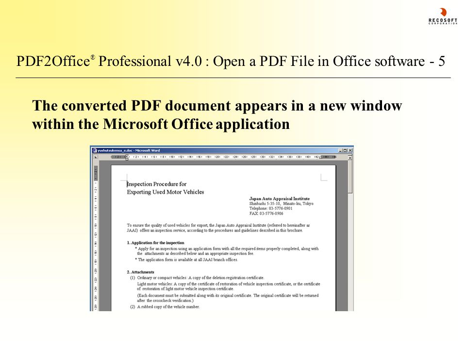 PDF2Office ® Professional v4.0 : Open a PDF File in Office software - 5 The converted PDF document appears in a new window within the Microsoft Office