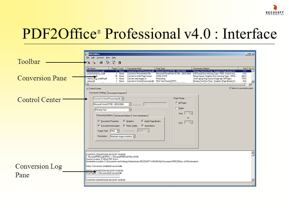 PDF2Office ® Professional v4.0 : Interface Toolbar Conversion Pane Control Center Conversion Log Pane