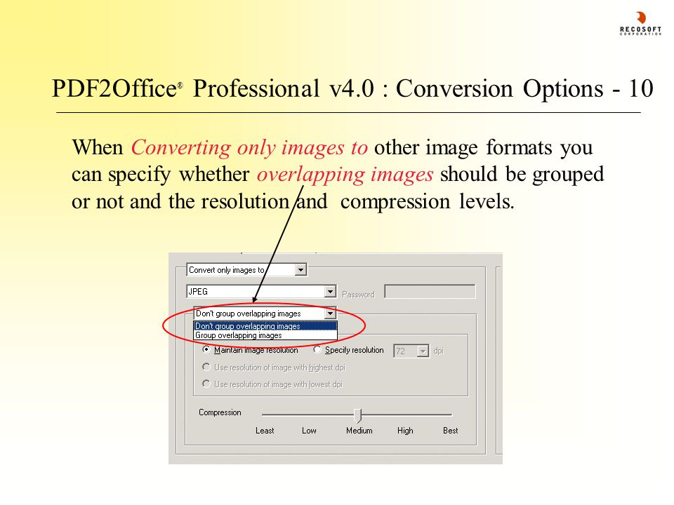 PDF2Office ® Professional v4.0 : Conversion Options - 10 When Converting only images to other image formats you can specify whether overlapping images should be grouped or not and the resolution and compression levels.