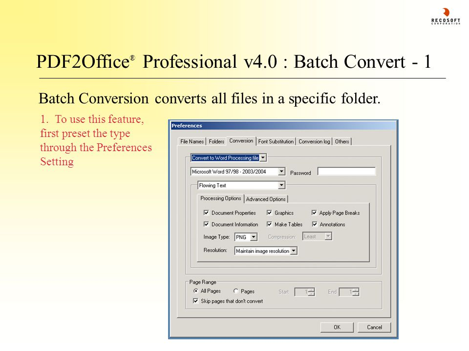 PDF2Office ® Professional v4.0 : Batch Convert - 1 Batch Conversion converts all files in a specific folder.