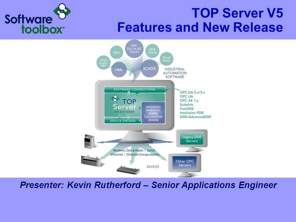 TOP Server V5 Features and New Release Presenter: Kevin Rutherford – Senior Applications Engineer