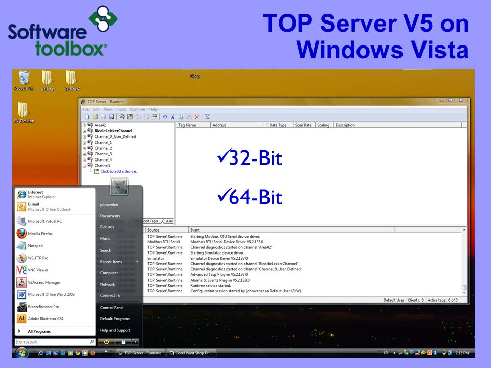 TOP Server V5 on Windows Vista 32-Bit 64-Bit