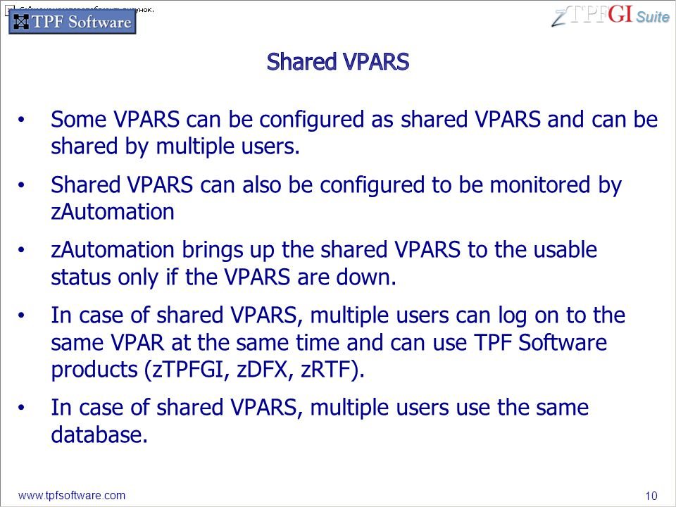 Suite www.tpfsoftware.com Some VPARS can be configured as shared VPARS and can be shared by multiple users.