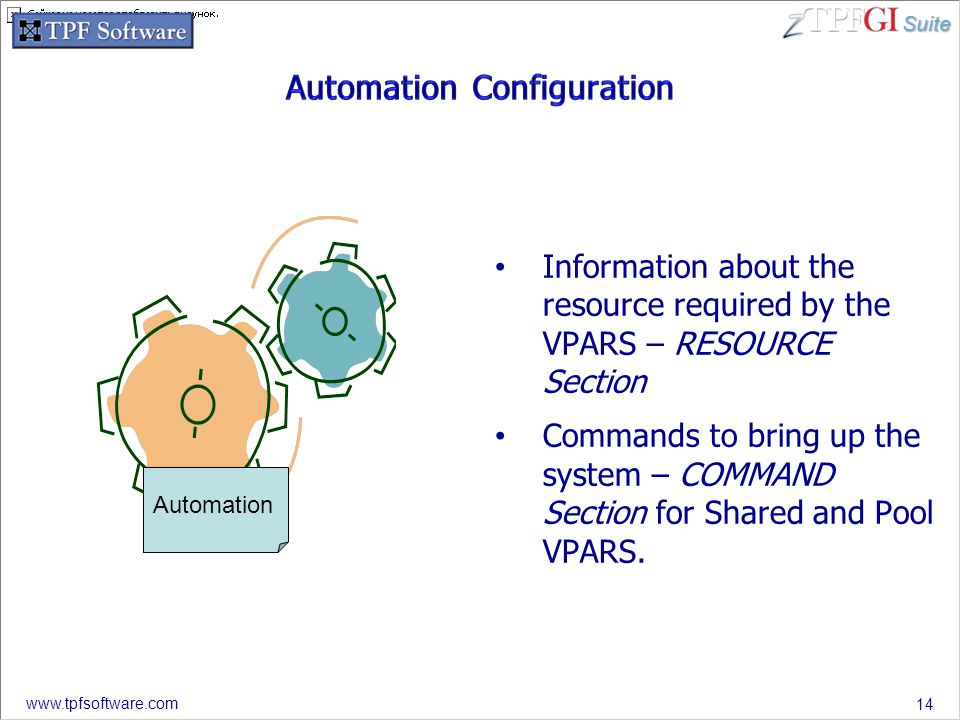 Suite www.tpfsoftware.com Information about the resource required by the VPARS – RESOURCE Section Commands to bring up the system – COMMAND Section fo