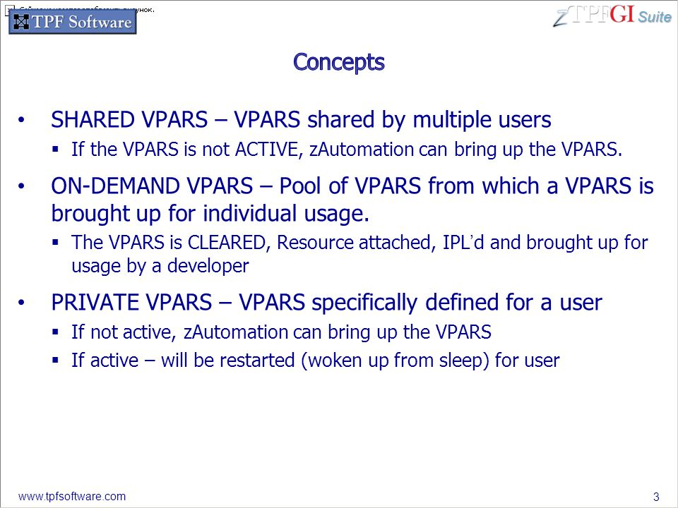 Suite www.tpfsoftware.com SHARED VPARS – VPARS shared by multiple users  If the VPARS is not ACTIVE, zAutomation can bring up the VPARS.