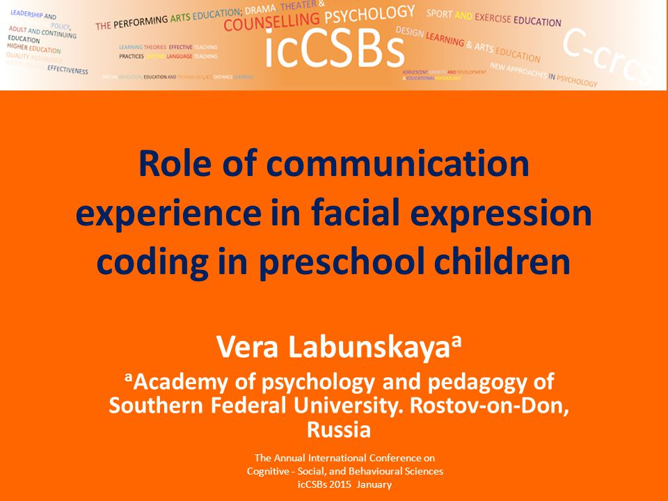 Role of communication experience in facial expression coding in preschool children Vera Labunskaya a a Academy of psychology and pedagogy of Southern Federal University.