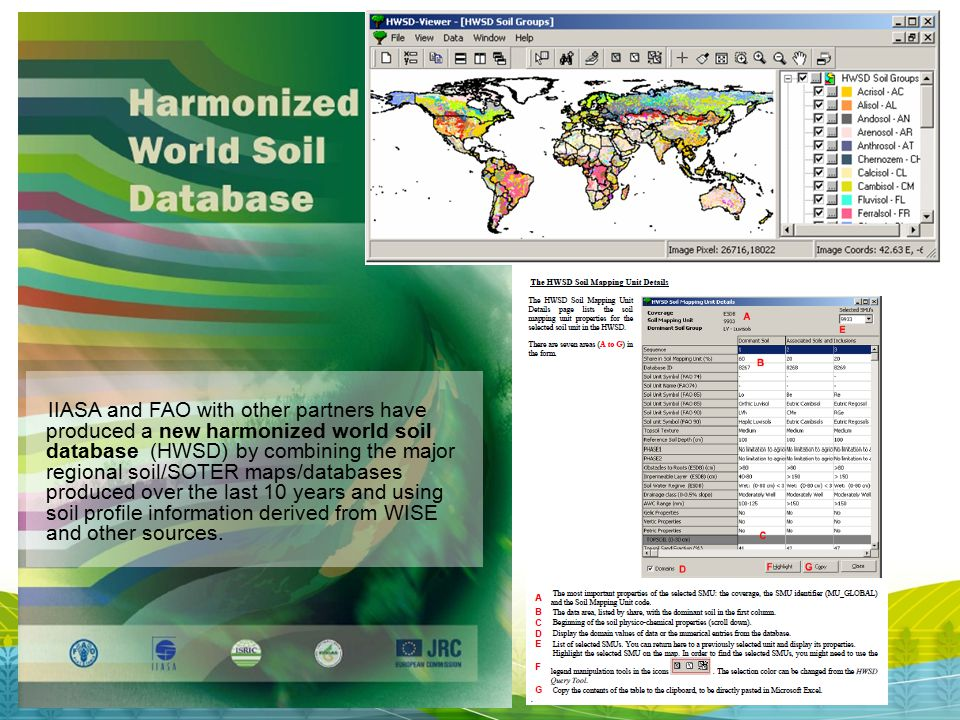 IIASA and FAO with other partners have produced a new harmonized world soil database (HWSD) by combining the major regional soil/SOTER maps/databases