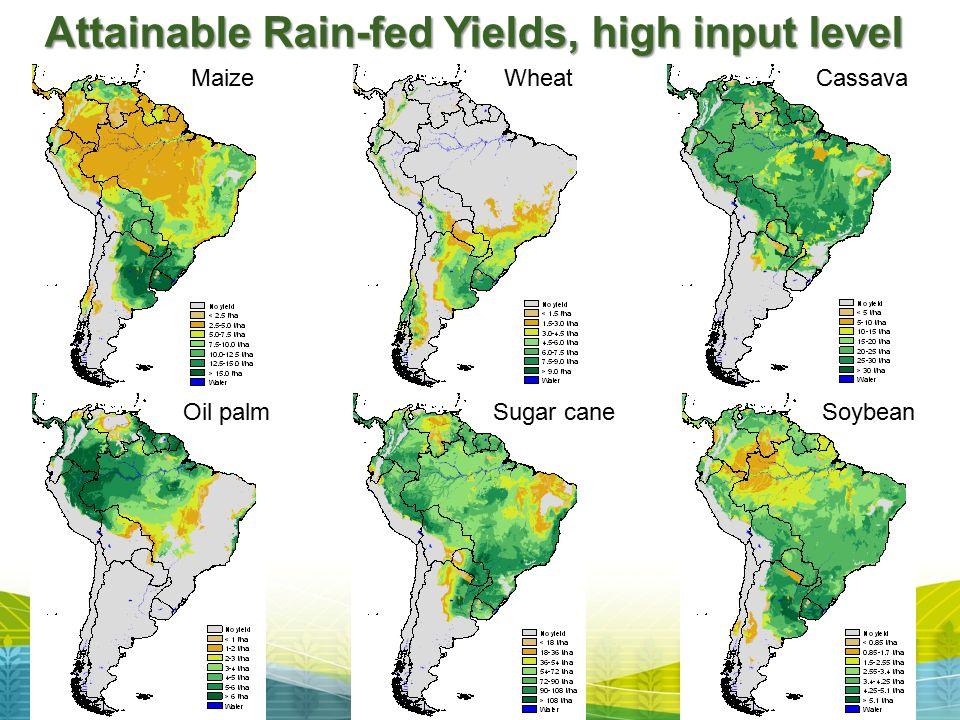 Oil palm MaizeCassavaWheat Sugar cane Soybean Attainable Rain-fed Yields, high input level
