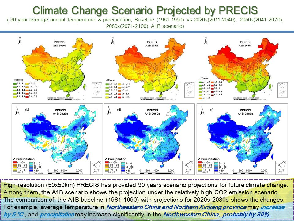 High resolution (50x50km) PRECIS has provided 90 years scenario projections for future climate change. Among them, the A1B scenario shows the projecti