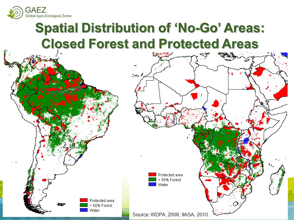 Spatial Distribution of 'No-Go' Areas: Closed Forest and Protected Areas Source: WDPA, 2009; IIASA, 2010.