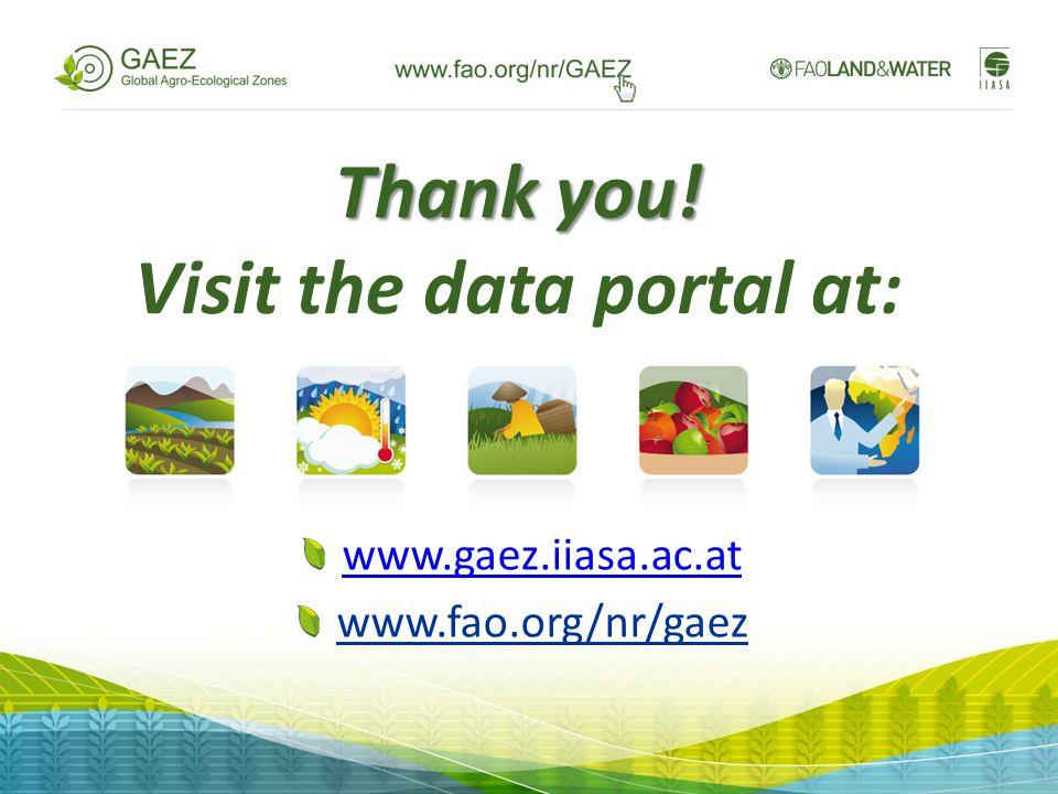 Thank you! Thank you! Visit the data portal at: www.gaez.iiasa.ac.at www.fao.org/nr/gaez