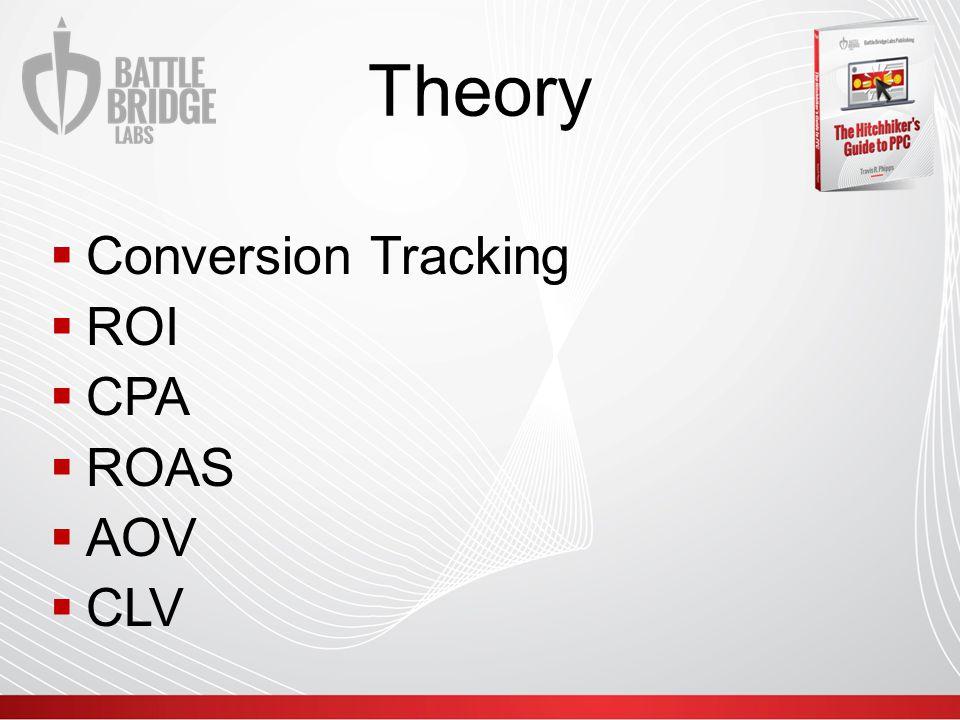 Theory  Conversion Tracking  ROI  CPA  ROAS  AOV  CLV
