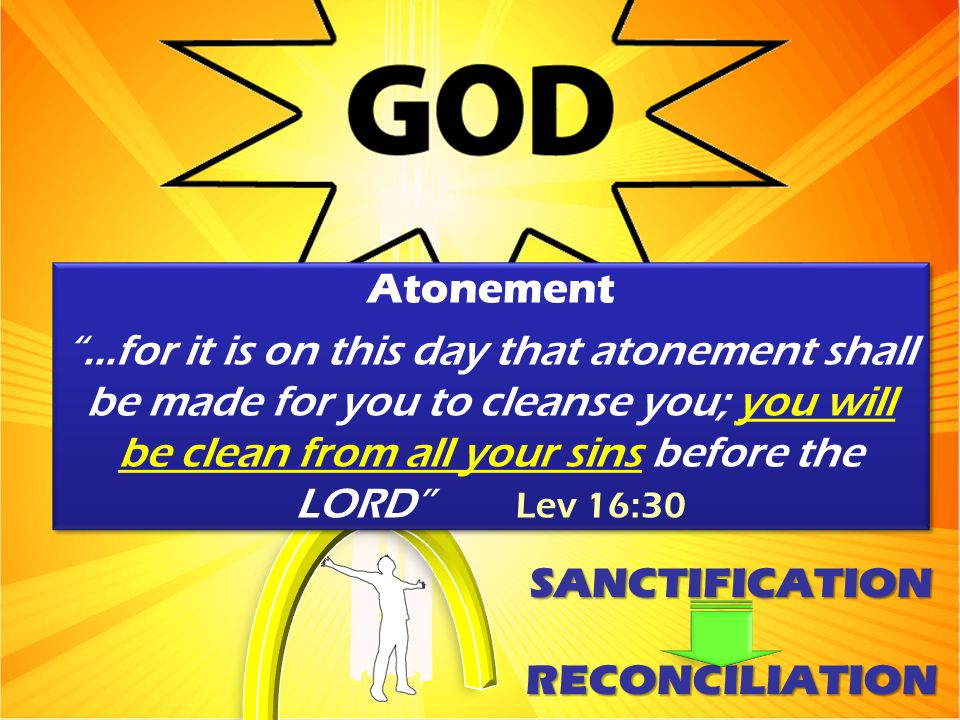 "Atonement ""...for it is on this day that atonement shall be made for you to cleanse you; you will be clean from all your sins before the LORD"" Lev 16:"