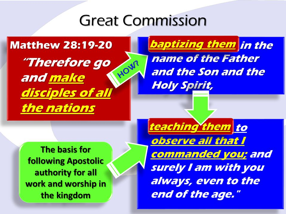 "Great Commission baptizing them in the name of the Father and the Son and the Holy Spirit, Matthew 28:19-20 ""Therefore go and make disciples of all th"
