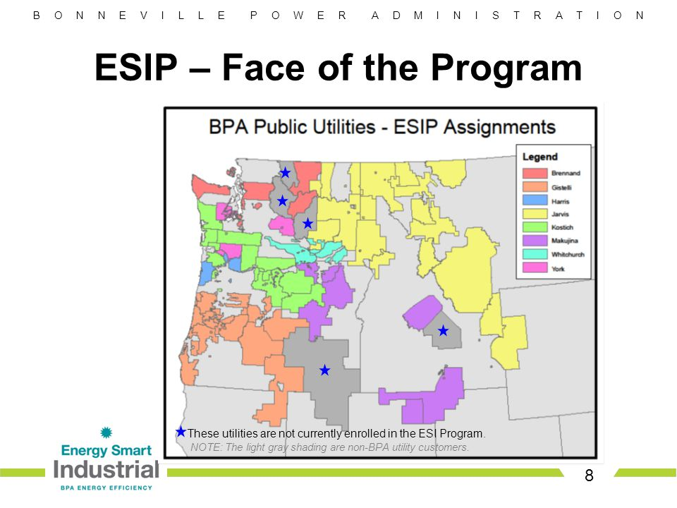 B O N N E V I L L E P O W E R A D M I N I S T R A T I O N ESIP – Face of the Program 8 These utilities are not currently enrolled in the ESI Program.